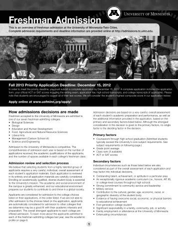 freshman admission at the University of Minnesota