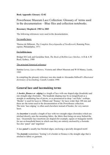 Powerhouse Museum Lace Collection: Glossary of terms used in the ...