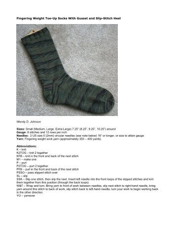 Fingering Weight Toe-Up Socks With Gusset and Slip-Stitch Heel ...