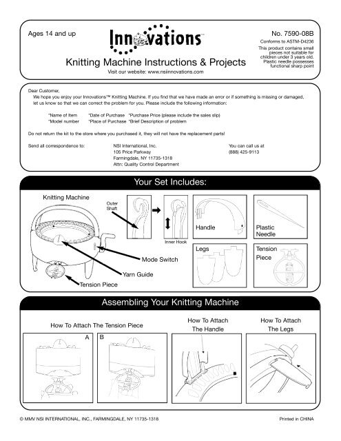 Knitting Machine Instructions