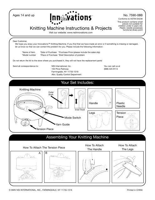 Knitting Machine Instructions