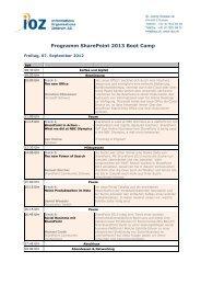 Programm SharePoint 2013 Boot Camp - IOZ AG