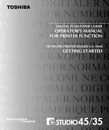 OPERATOR'S MANUAL FOR PRINTER FUNCTION ... - Toshiba