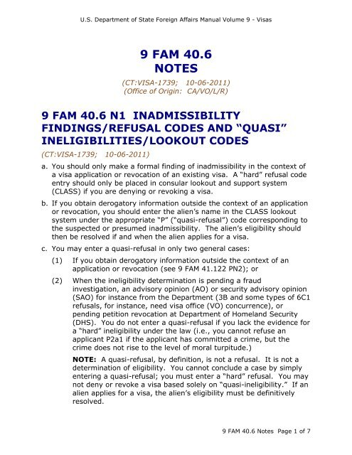 9 FAM 40 6 Basis for Refusal - Notes - US Department of State