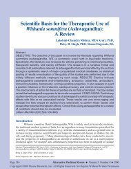 Scientific Basis for the Therapeutic Use of Withania - Alternative ...
