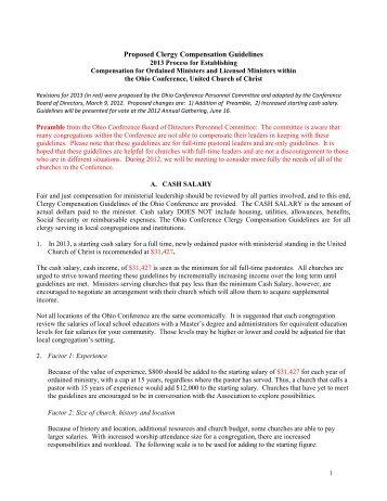 Clergy Compensation Guidelines - Ohio Conference United Church ...