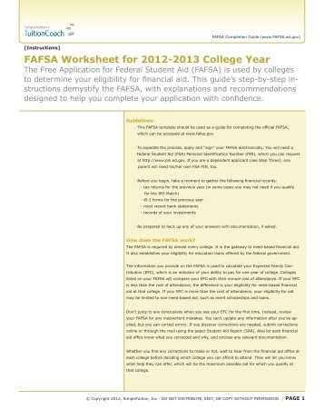 FAFSA Worksheet for 2012-2013 College Year - TuitionCoach