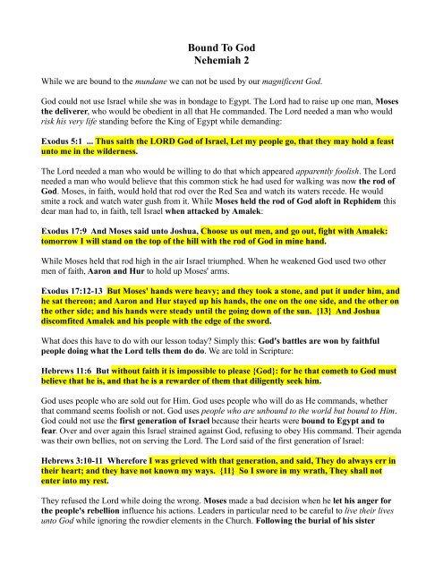 Bound To God Nehemiah 2 - Bibleteacher org