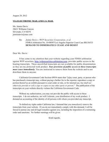 leesa durrant cease desist letter wfpsecurities arbitrationcom