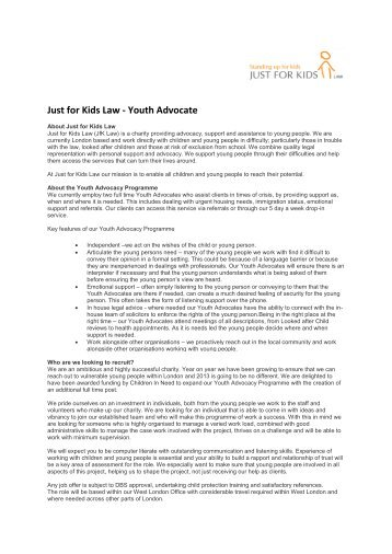 Just for Kids Law - Youth Advocate