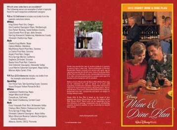 2010 DISNEY WINE & DINE PLAN - Walt Disney World
