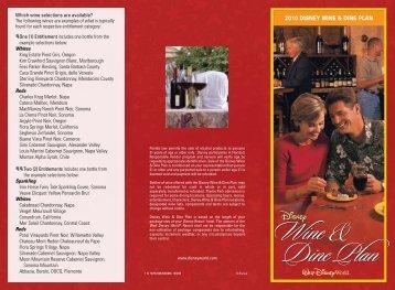2010 DISNEY WINE & DINE PLAN - Walt Disney World