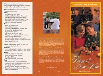 Wine and Dine Plan - Walt Disney World