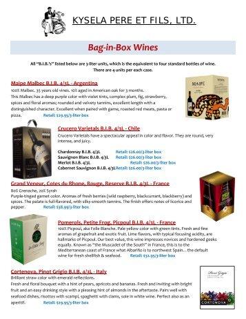 Bag-in-Box Wines - Kysela Pere et Fils, Ltd.