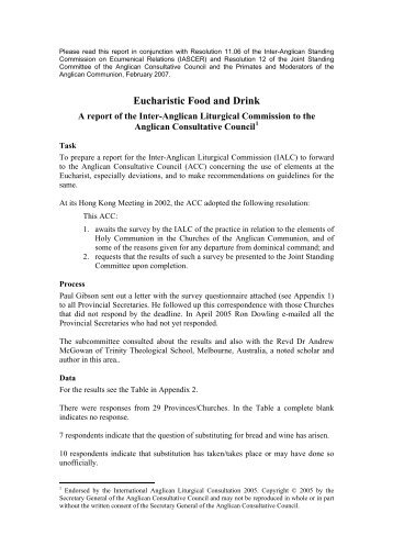 EUCHARISTIC FOOD and DRINK: - Anglican Communion