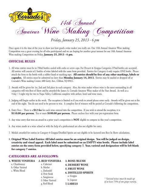 Amateur Wine Making Competition Corrado S