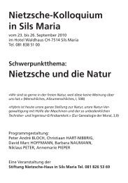 Nietzsche-Kolloquium in Sils Maria Nietzsche ... - KUBUS-SILS.CH