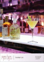 Cocktail List - Mon Bijou
