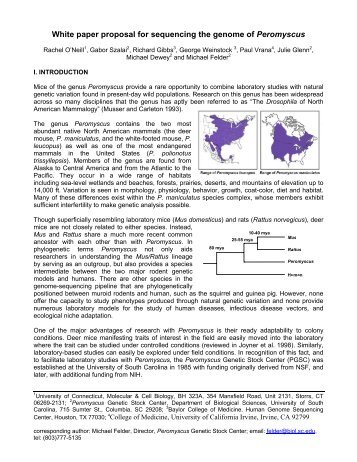 White paper proposal for sequencing the genome of Peromyscus