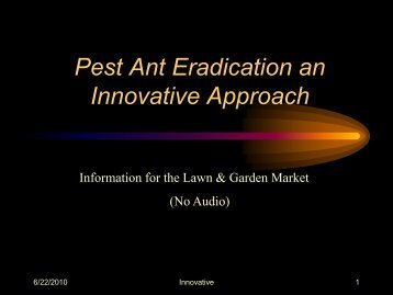 Pest ant eradication an innovative approach - ant control