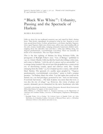 Black Was White - American Studies @ The University of Virginia