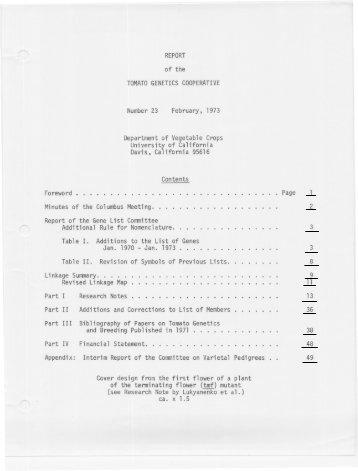 Volume 23 - Tomato Genetics Cooperative - University of Florida