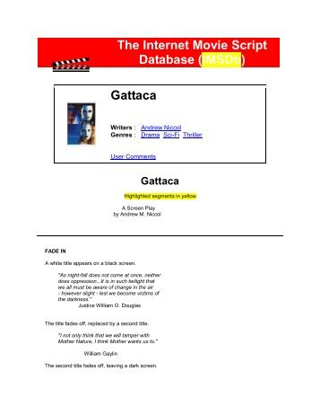 The Internet Movie Script Database (IMSDb) Gattaca