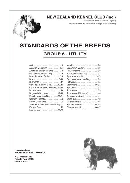 Standards Of The Breeds New Zealand Kennel Club