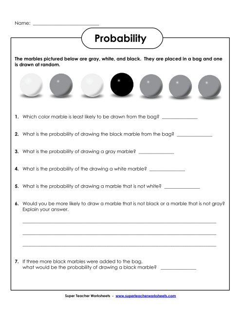 probability marbles basic super teacher worksheets. Black Bedroom Furniture Sets. Home Design Ideas