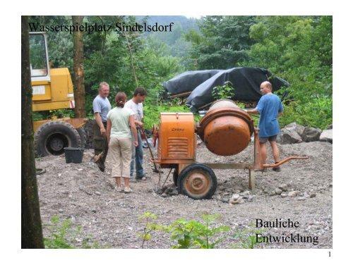 Wasserspielplatz Sindelsdorf Bauliche Entwicklung