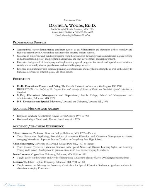 cv example academic teacher resume resource com