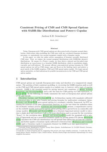 Consistent Pricing of CMS and CMS Spread Options - UniCredit ...