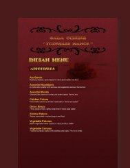 INDIAN MENU - Gala Cuisine