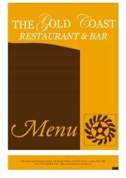 The Gold Coast Menu - Gold Coast Bar and Restaurant