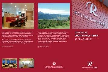 Download - Flyer «Eröffnungsfeier Restaurant Raten
