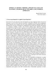 Spoken Academic Corpora Applied To Language Teaching And