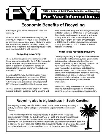 Economic Benefits of Recycling - Department of Health and ...