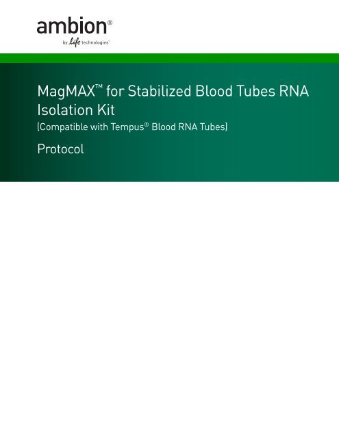 Magmax For Stabilized Blood Tubes Rna Isolation Kit Invitrogen