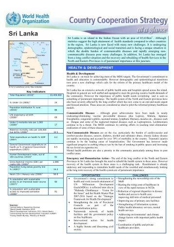 HEALTH & DEVELOPMENT - Sri Lanka