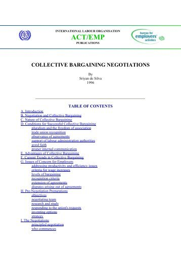 collective bargaining negotiations - International Labour Organization