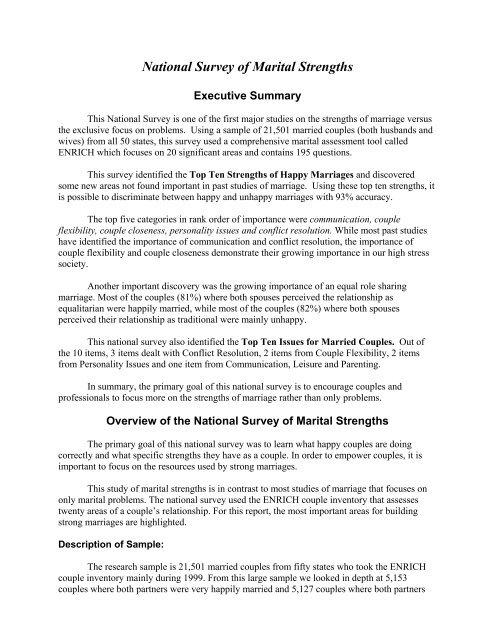 National Survey of Marital Strengths - Prepare/Enrich