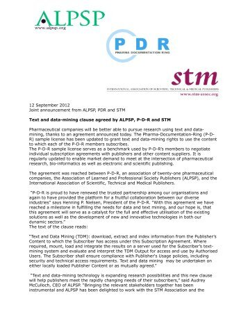 PDR ALPSP STM Text Mining Press Release