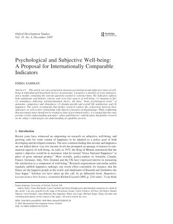 Psychological and Subjective Well-being: A Proposal for ...
