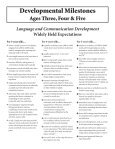 Developmental Milestones Ages Three, Four & Five Language - Page 3