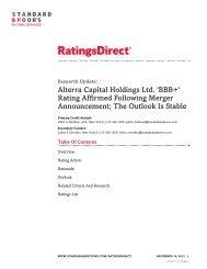 Alterra Capital Holdings Ltd. 'BBB+' Rating Affirmed Following ...