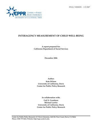Interagency Measurement of Child Well-Being - Health and Human ...
