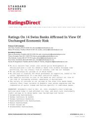 Ratings On 14 Swiss Banks Affirmed In View Of Unchanged ...