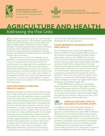 agriculture and health - International Food Policy Research Institute