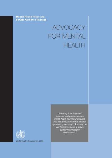 Advocacy for Mental Health - libdoc.who.int - World Health ...