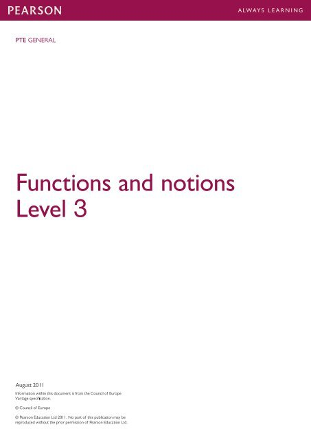 Functions and notions Level 3 - Pearson Test of English